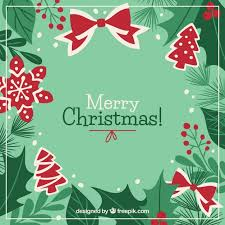merry christmas background in green and red vector free download