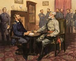 general grant meets robert e lee painting english school general grant meets robert e lee