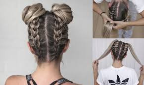 plait at back of head hairstyle space buns double bun upside down dutch braid into messy buns