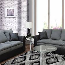 Gray Microfiber Sofa by Contemporary Styling In A Two Tone Black Pu With Grey Microfiber
