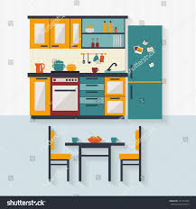Furniture Kitchen Kitchen Furniture Table Chairs Flat Style Stock Vector 231435424