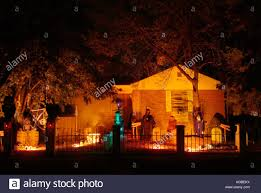 very well decorated suburban halloween haunted house stock photo