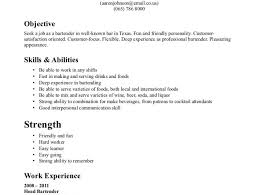 bartending resume examples bartending resume example 1 no bar