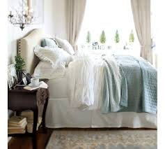 Pottery Barn Toile Bedding Raleigh Upholstered Camelback Bed U0026 Headboard With Nailhead