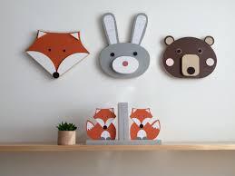 animals bear bunny fox wooden hanging wall decor