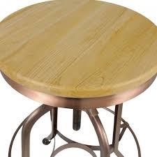 siege rond tabouret rond toledo siège en bois de chêne et cuivre 64 74cm
