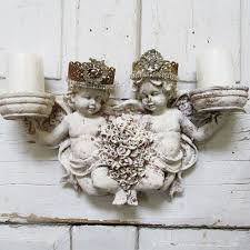 Angel Home Decor Cherub Candle Holder Wall Sconce With Homemade Rhinestone Crowns