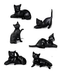 set of 6 black cat ornaments co uk kitchen home