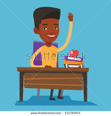 Picture Of Student Sitting At Desk Caucasian Student Sitting Desk Raised Hand Stock Vector 583128409