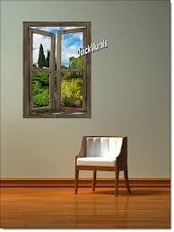 garden lake cabin window peel stick 1 piece canvas wall mural