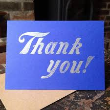 thank you letterpress greetings card mostly flat