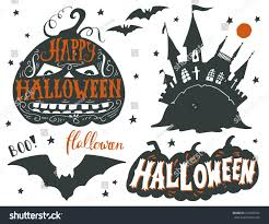 collection black silhouettes halloween symbols hand stock vector