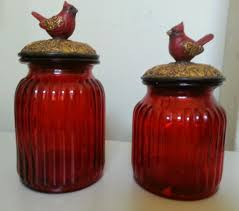 set of 2 pc ruby red glass kitchen canisters set tuscan drake