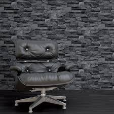 Grey Wallpaper Living Room Uk I Love Wallpaper Photographic Slate Effect Wallpaper Charcoal