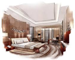 chambre en perspective esquissez la chambre à coucher intérieure de perspective dans une