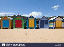 painted beach huts in melbourne brighton beach australia stock