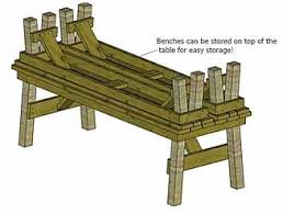 Wooden Picnic Tables With Separate Benches Classic Table With Separate Benches Mike U0027s Plans