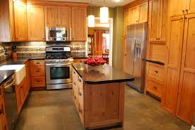 knotty pine kitchen modern with wood flooring high back bar height