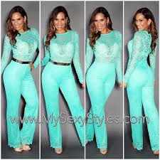 aqua jumpsuit jumpsuit mysexystyles sleeves aqua lace fashion