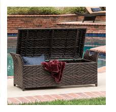 amazon com outdoor wicker storage bench seat box garden u0026 outdoor