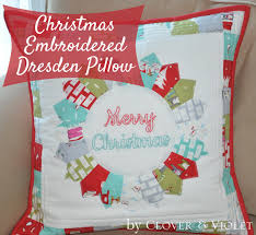 embroidered christmas clover violet embroidered christmas dresden pillow tutorial