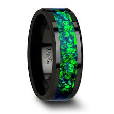 titanium wedding bands for men pros and cons pulsar black ceramic wedding band with beveled edges and emerald