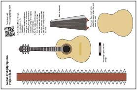 Papercraft Guitar - papermau easy to build miniature guitar paper model by digitprop