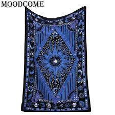 blue sun and moon mandala tapestry planet indian wall hanging