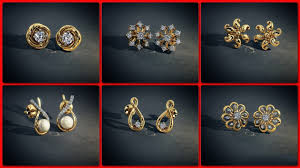 gold stud earrings designs small gold earrings