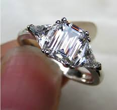 white emerald rings images High quality 3ct three stone emerald cut synthetic diamonds jpg