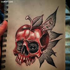 red ink skull apple tattoo design