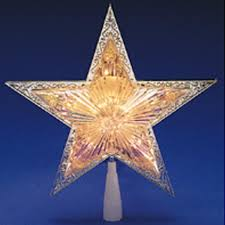 10 u0027 lighted silver star christmas tree topper clear lights