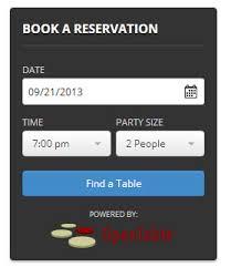 open table reservation system open table widget wordpress plugins