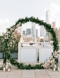 Wedding Arch Nyc Modern Garden Party Rooftop Wedding In New York City Wedding