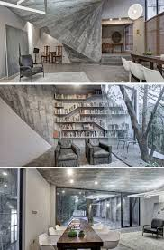 wild interior warped concrete walls shaped by living trees