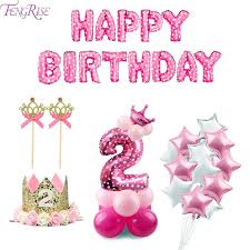 2nd birthday decorations at home fengrise 10pcs 12inch number 2 year old balloons girl pink boy