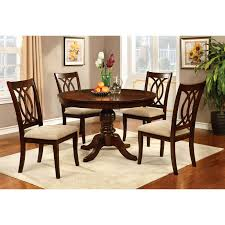 transitional dining room sets furniture of america vessice round dining table hayneedle