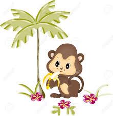 monkey eating banana under palm royalty free cliparts vectors