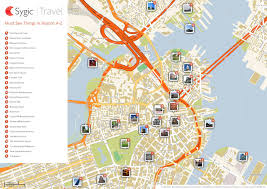 map attractions boston printable tourist map sygic travel