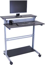 Computer Desk Stand 40 Black Shelves Mobile Ergonomic Stand Up Desk