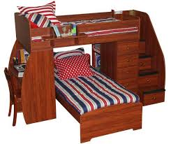 Cherry Wood Desk Bedroom White Polished Solid Wood Bunk Bed With Storage And Desk