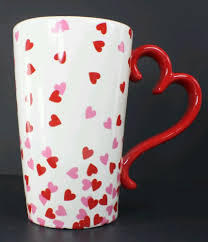 Heart Shaped Mugs Heart Mug Tall With Heart Shaped Handle Red White With Red And