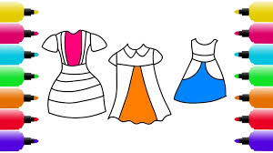how to draw colorful dresses for girls coloring pages dresses