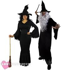 couples witch wizard halloween fancy dress costumes his and hers