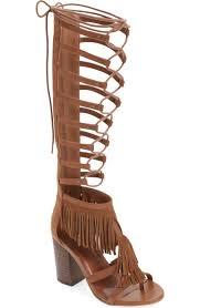 mia ricarda high heel knee high suede gladiator sandal black brown