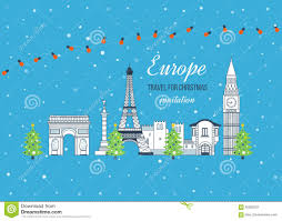 travel merry images Travel to europe for christmas merry christmas stock vector jpg