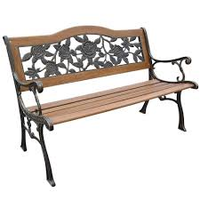 Home Benches Parkland Heritage Rose Resin Back Patio Park Bench Slp2660brsp