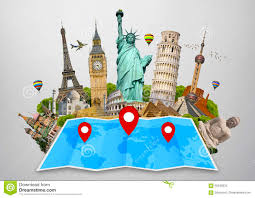 Pin World Map by Monument Of The World On A Map Stock Photo Image 60248524