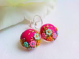unique earrings fuchsia earrings unique polymer clay earrings flower earrings