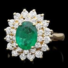 flower emerald rings images Emerald diamond engagement ring in flower design for sale online jpg